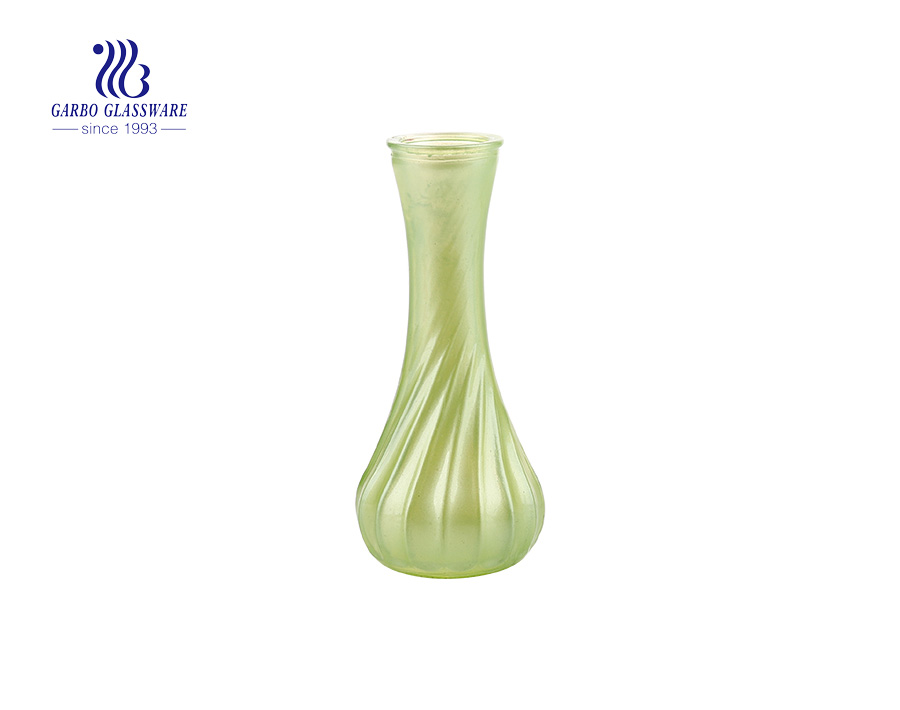 Colorful Candy Color  Green Wedding Use  Tabletop Fashion Glass Flower Vase 6 Inch Height  Ideal home decoration glass holders