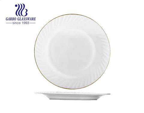 Pratos redondos de vidro opala branco de 10 polegadas com aro dourado