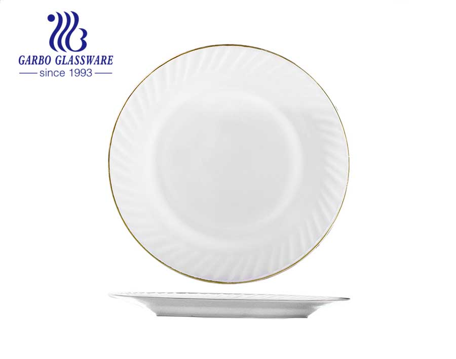 10inch round white opal glass dinner plates with gold rim