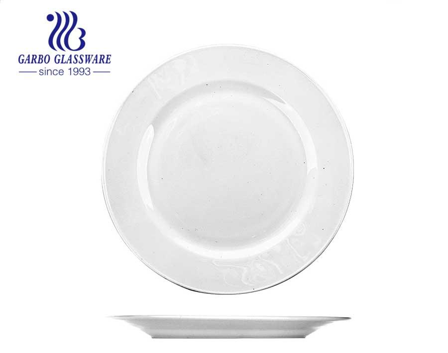10 Zoll runde weiße Opalglas Teller mit Goldrand