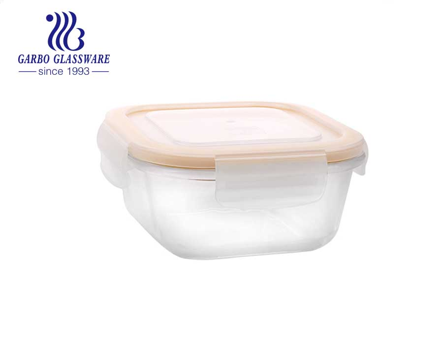 700ml square glass lunch boxes for Microwave, Fridge, Freezer, Dishwasher, Oven Safe with LeakProof Lids
