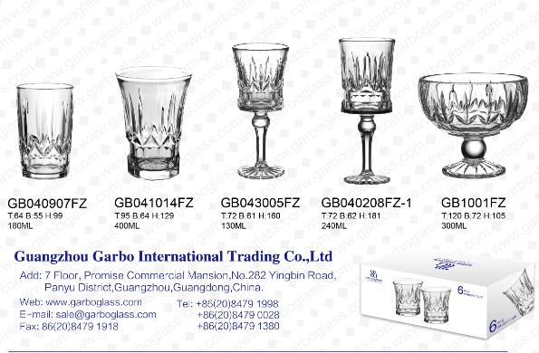 Garbo Glassware FZ new design glass cups for Europe and South America market