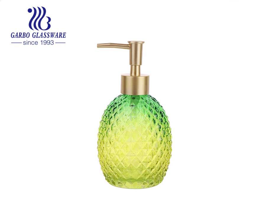 Dispensador de jabón líquido o loción de vidrio decorativo de color verde de 13 oz con espita 357 ml