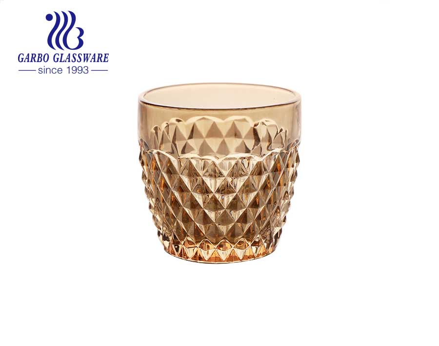 Great discount in stock 9oz engraved golden glass cup with unfading electroplating color