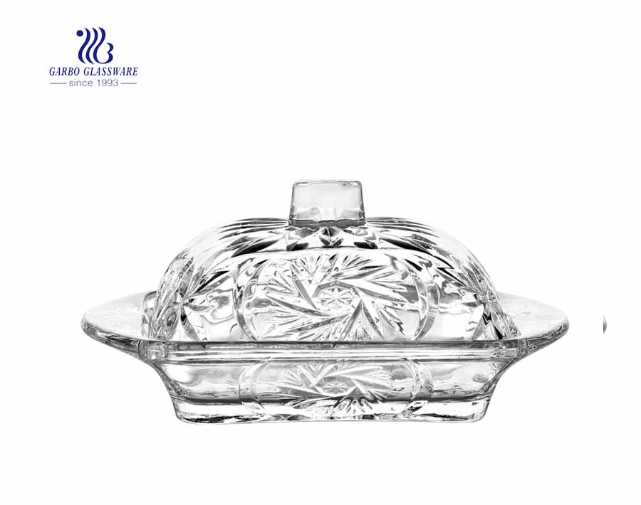 6.81 inch home basics glass candy or butter dish with lid