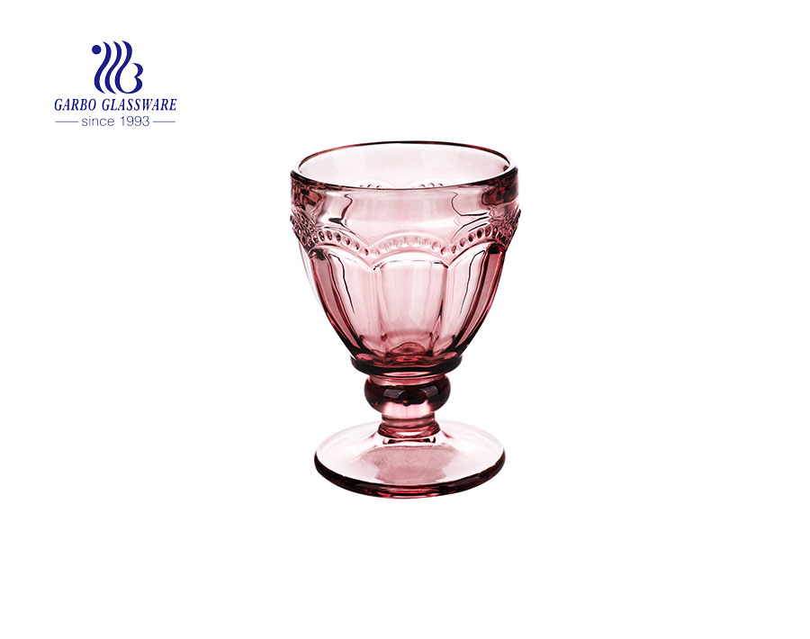 Footed  New  Design   Glass Cup Ice Cream  9oz  purple solid glass bowl glass goblet wine cup