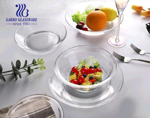 Saladeira de frutas simples de vidro de 8.5 L de 1.6 polegadas para restaurante em casa usando