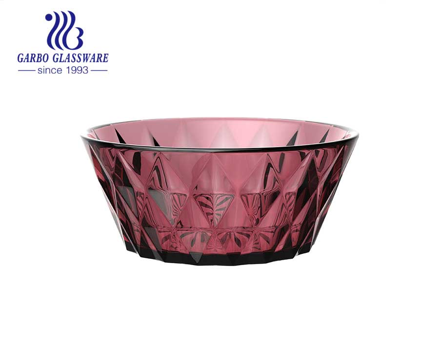 Hot sale solid color fuchsia golden rim hammer pattern square glass bowl with wave edge