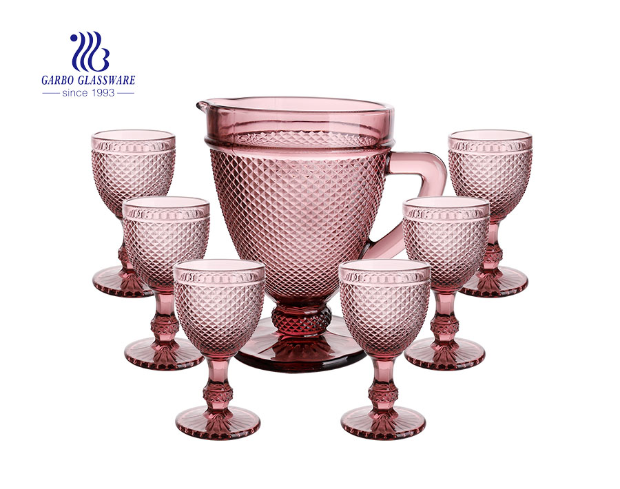 Brazil style fuchsia classical reaationary glass water drinking jug set with goblet for dinner