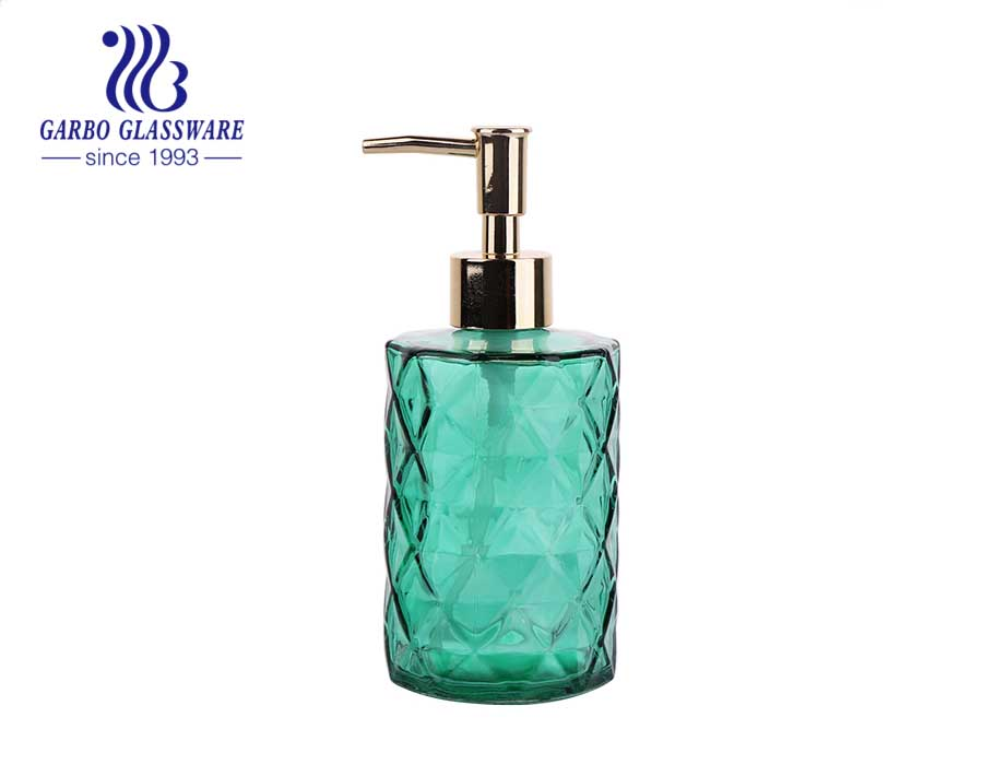 Dispensador de loción de vidrio de cal sodada transparente de alta calidad con espita de plástico 430ml