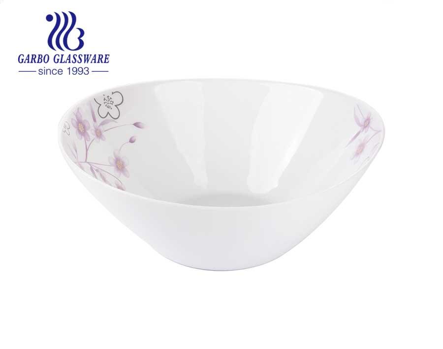Cuencos de vidrio opal blanco de 10 pulgadas fáciles de limpiar para almacenamiento, mezcla, servicio, congelador y microondas.