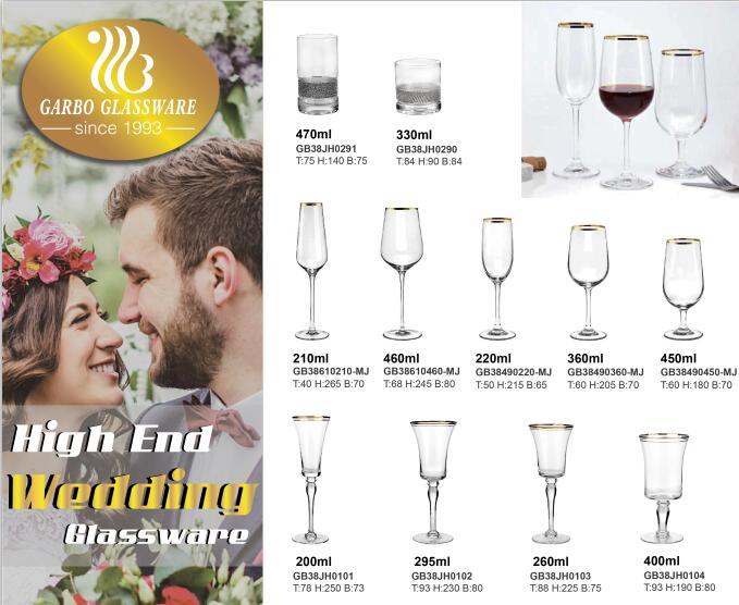 Copa de vino de alta calidad con borde dorado para banquete de boda