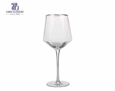 Polygon wine glass peculiar clear elegant stemware glass wine glass with golden rim