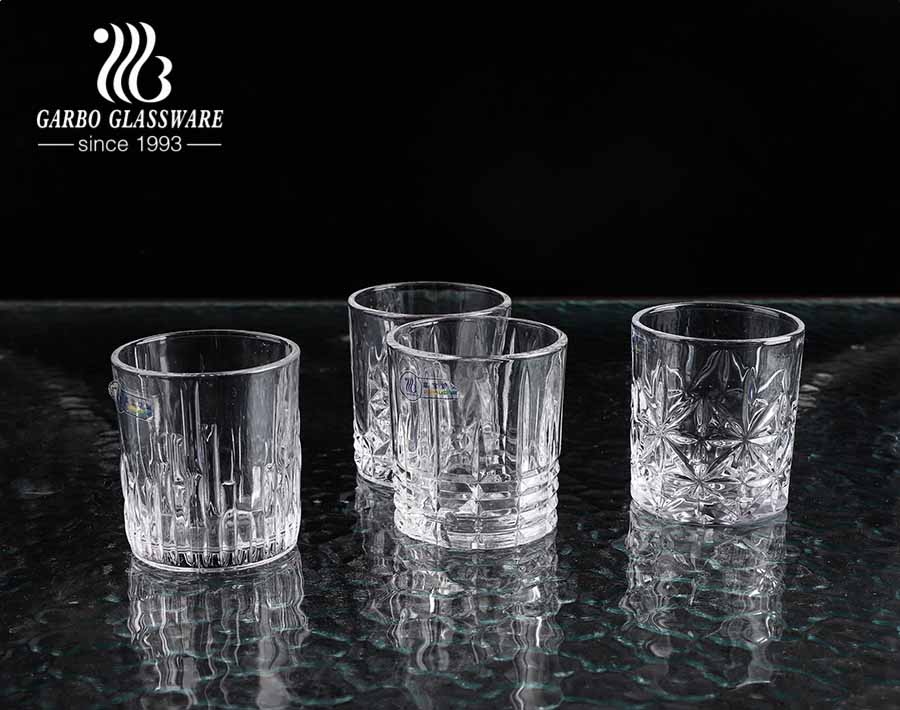 Standard 8oz short whiskey glass cup with vintage engraved designs for bar