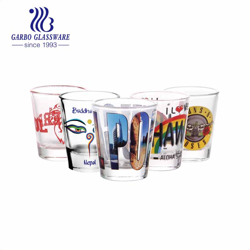 Custom shot glasses city souvenir tall glasses 2oz glass cups for party