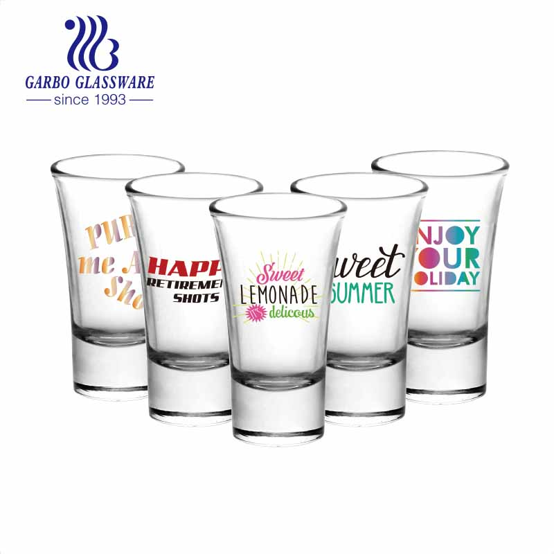 OEM customized printing design personalized shot glasses party gifts liquor glass cups