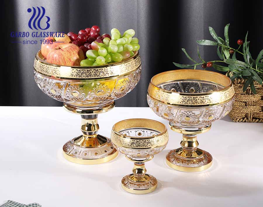 Mid-east design gold plating sunflower carved pattern glass fruit bowl set with tall foot