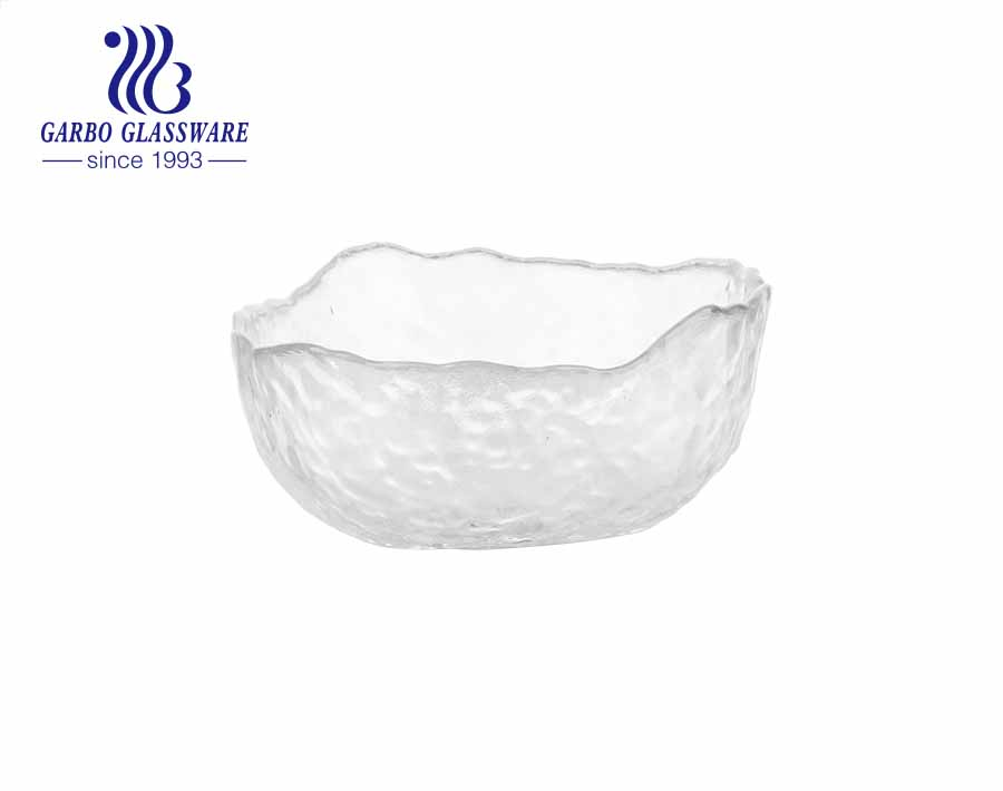 Simple European Style 6-inch Transparent Glass Fruit Salad Bowl with Gold Rim