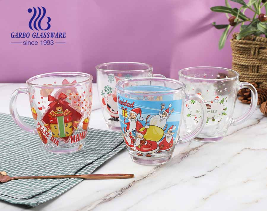 360ml Christmas Glass Mugs Customized Decal Glasses Tea Coffee Cups With Handle
