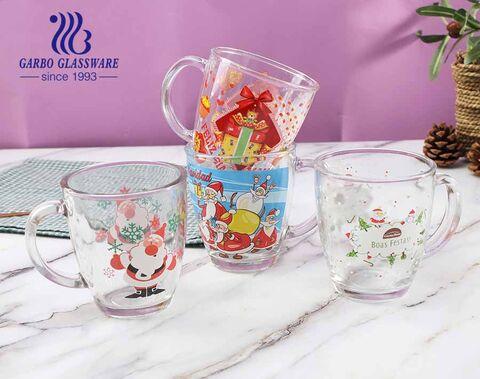 360ml Christmas Glass Mugs Customized Decal Glasses Tea Coffee Cups With Handle