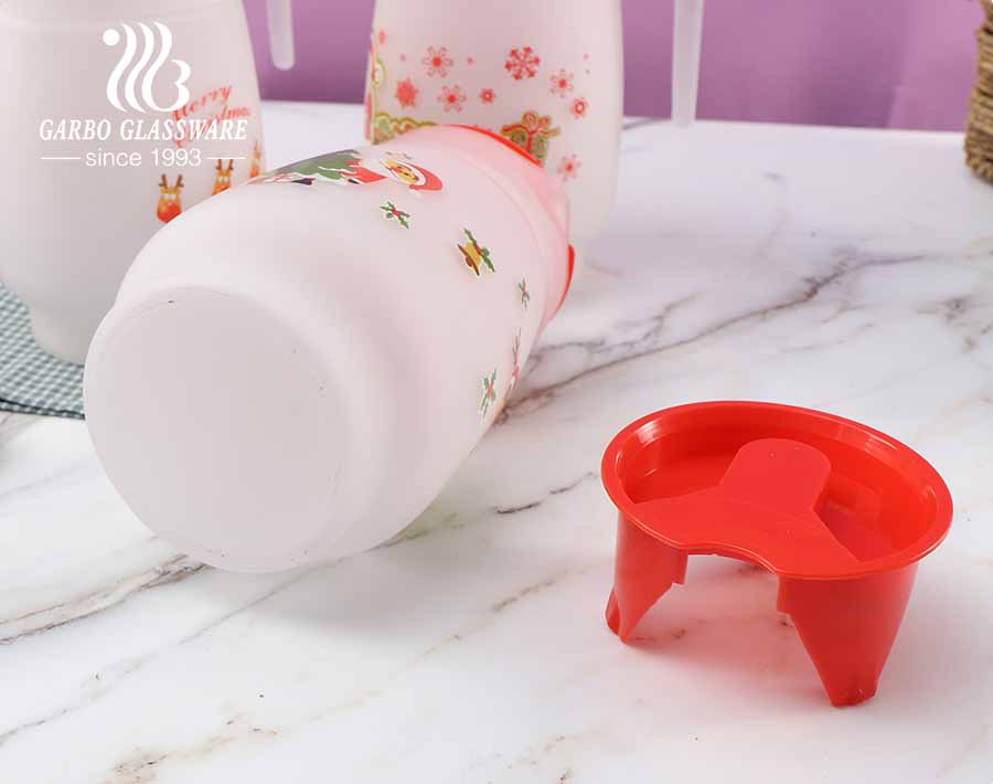 Christmas Festival Decal Printing Water Carafe Beverage Glass Pitcher with lid