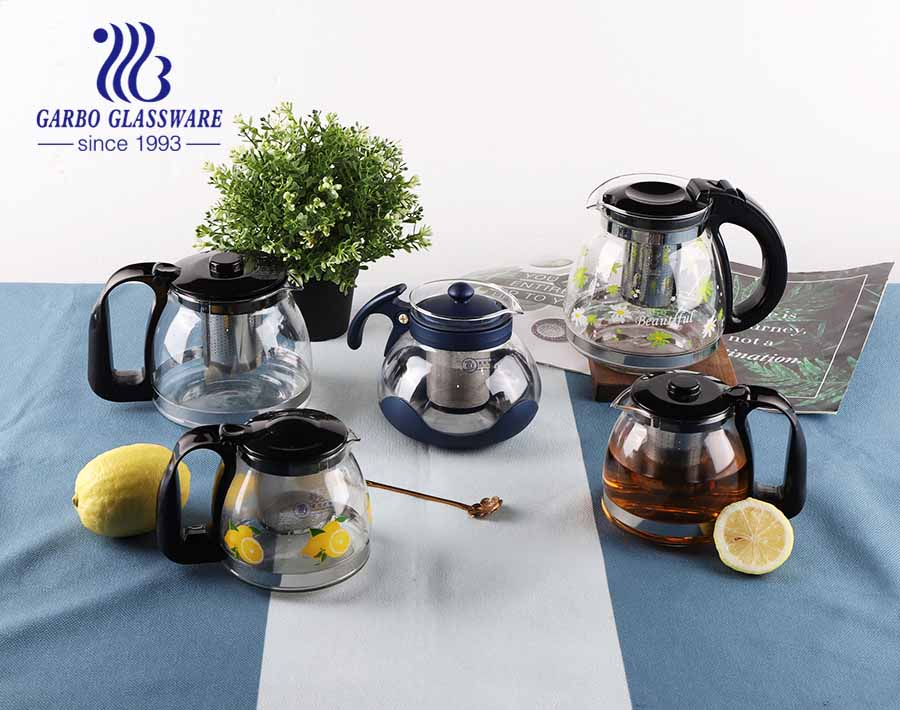 Microwave Safe Glass Teapot Gift Flower Decal Glass Tea Pot with Infuser