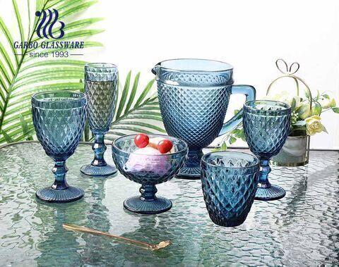 classic 1.3L diamond design glass jug solid color glassware for water drinking