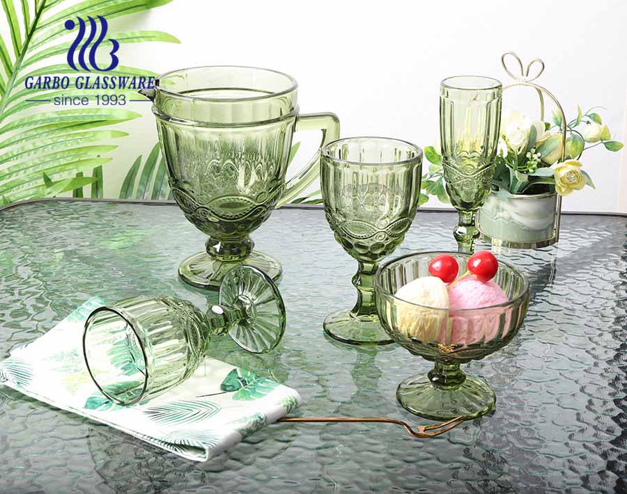 classic green solid color wine drinking glass tumbler with high quality for hotel party drinking