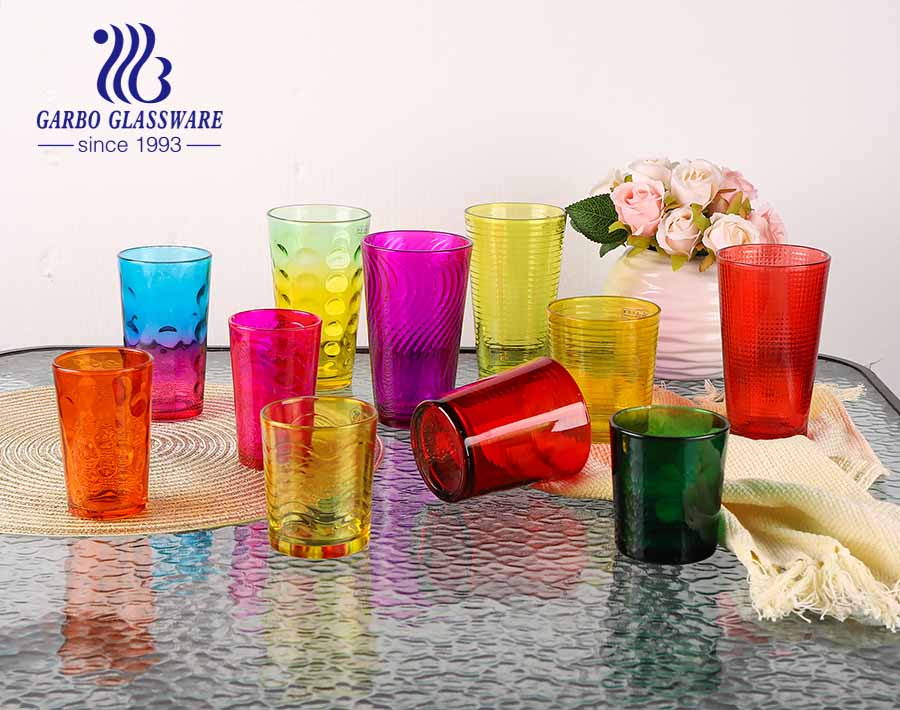 14oz spray color big glass cup for water drinking with dot design south america hot sale glassware