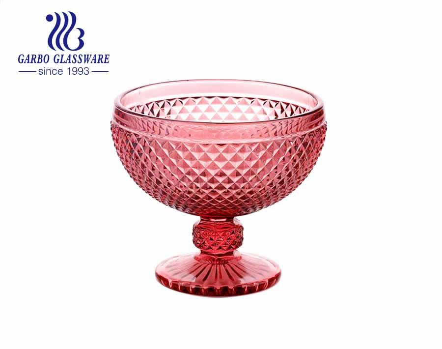 Blue Color Stemware Glass Ice Cream Bowl Glass dessert cup 14 ounces