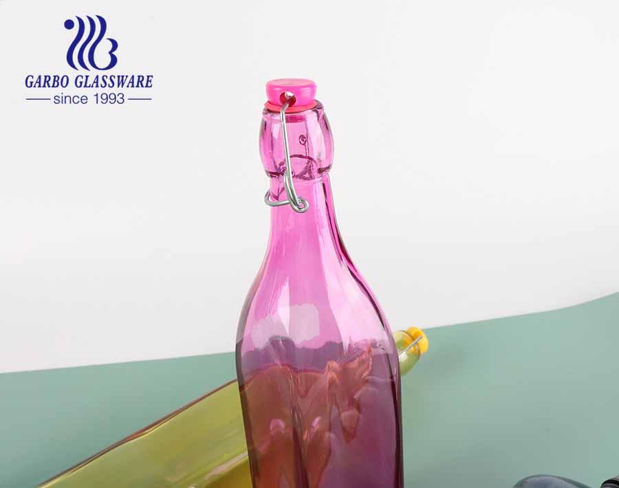 Tarro de cristal coloreado bottel de cristal de la forma cuadrada 21oz con la tapa de la cerradura