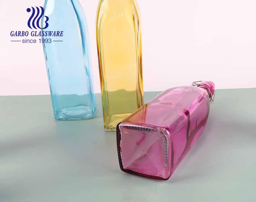 Hũ thủy tinh màu thủy tinh bottel hình vuông 21oz có nắp khóa