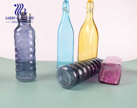 21oz Square shape glass bottel colored glass storage jar  with lock lid