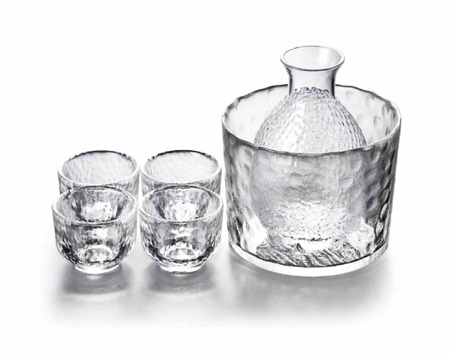 Japanese-style hammer pattern sake glass wine set decanter cup wine warmer for hotel bar home