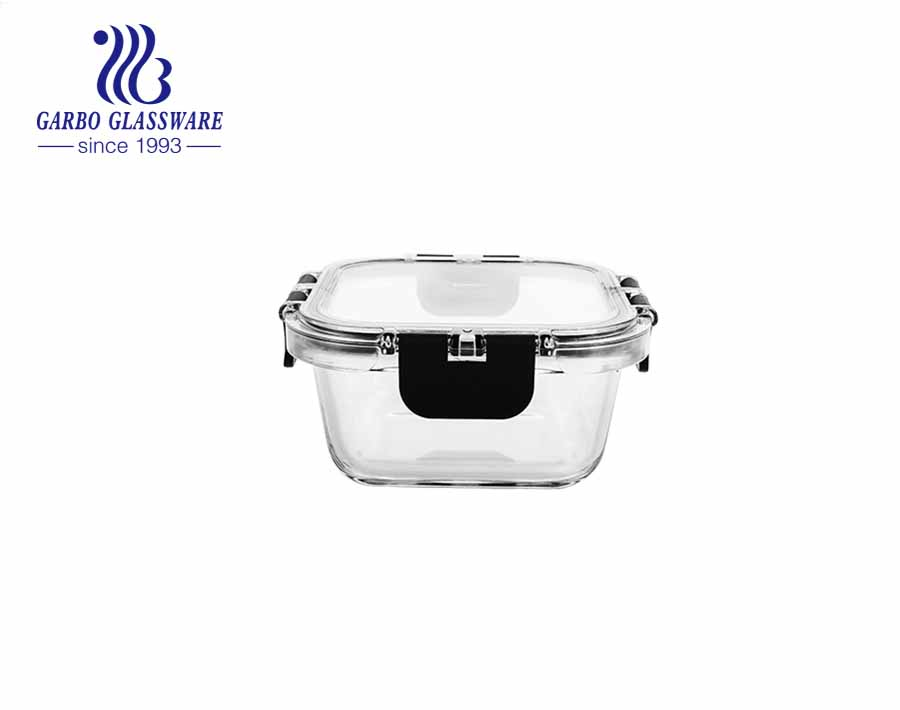800 ml Square Glass Lunch Containers with transparent MS Locking Lids