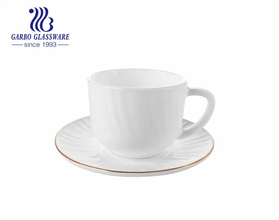 New waved designs white tempered Opal Glass Tea Cups and Saucers Sets with Gold Rim