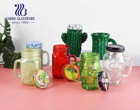 Copos de vidro de vidro de vidro de design especial colorido de 475ml tamanho normal com tampa de metal