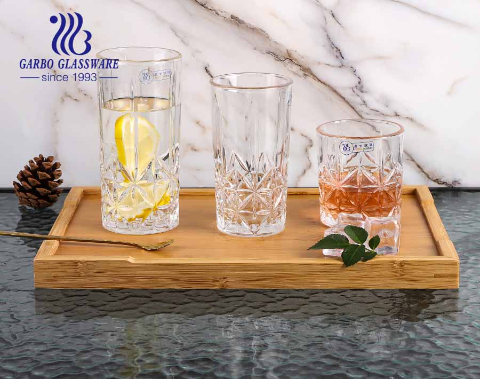 Garbo Glassware 2021 new design engraved whisky glass cups set with standard 8oz 9oz 11oz