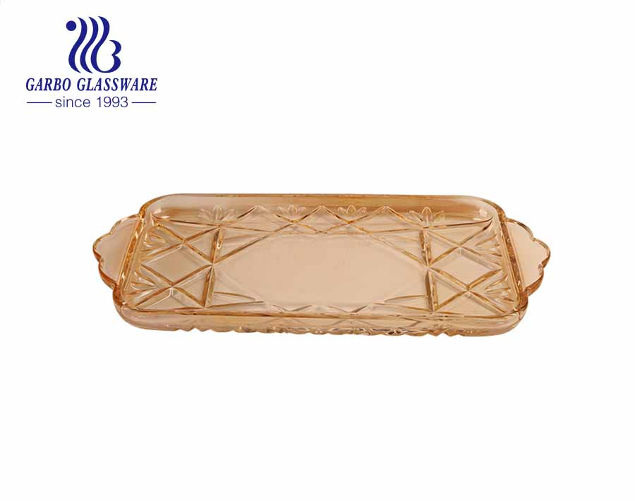Rectangular-shape Ion Plating Amber Color Glass Fruit Plate with Diamond Pattern