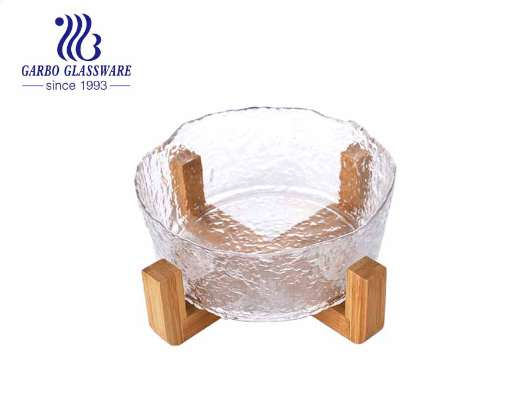 Frutero de vidrio hecho a mano de 7 pulgadas de diseño simple con soporte de madera