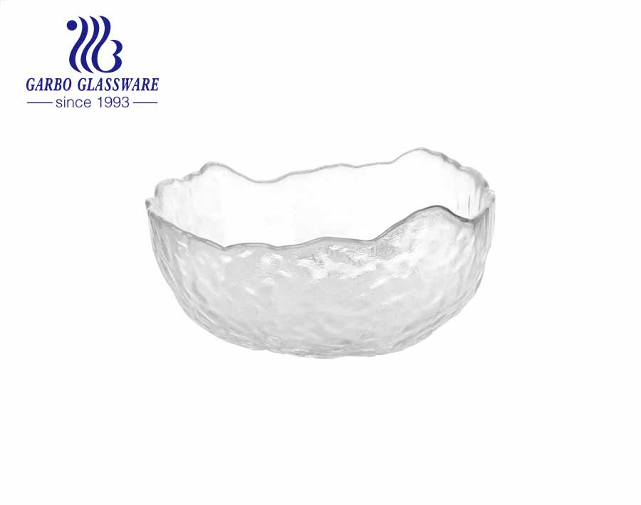 Simple Design 7-inch Handmade Glass Fruit Bowl with Wooden Stand