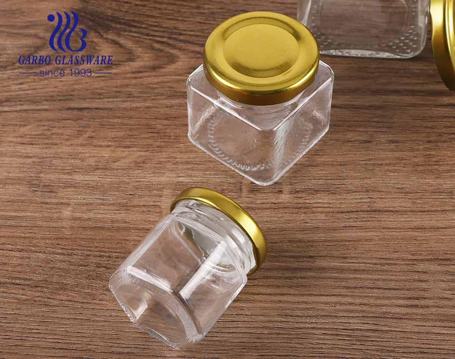 300ml glass kitchen canister hexagon glass storage jars with lids