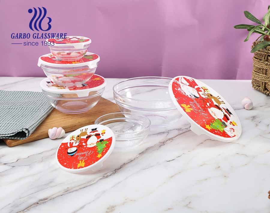 China design 5 pcs Christmas promotional glass food bowl set with red lid and Christmas festival ingredient