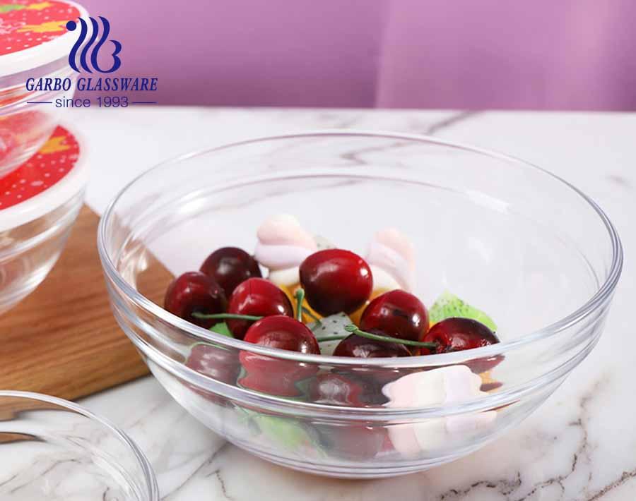 China Design 5 Stück Weihnachtswerbung Glas Food Bowl Set mit rotem Deckel und Weihnachtsfest Zutat