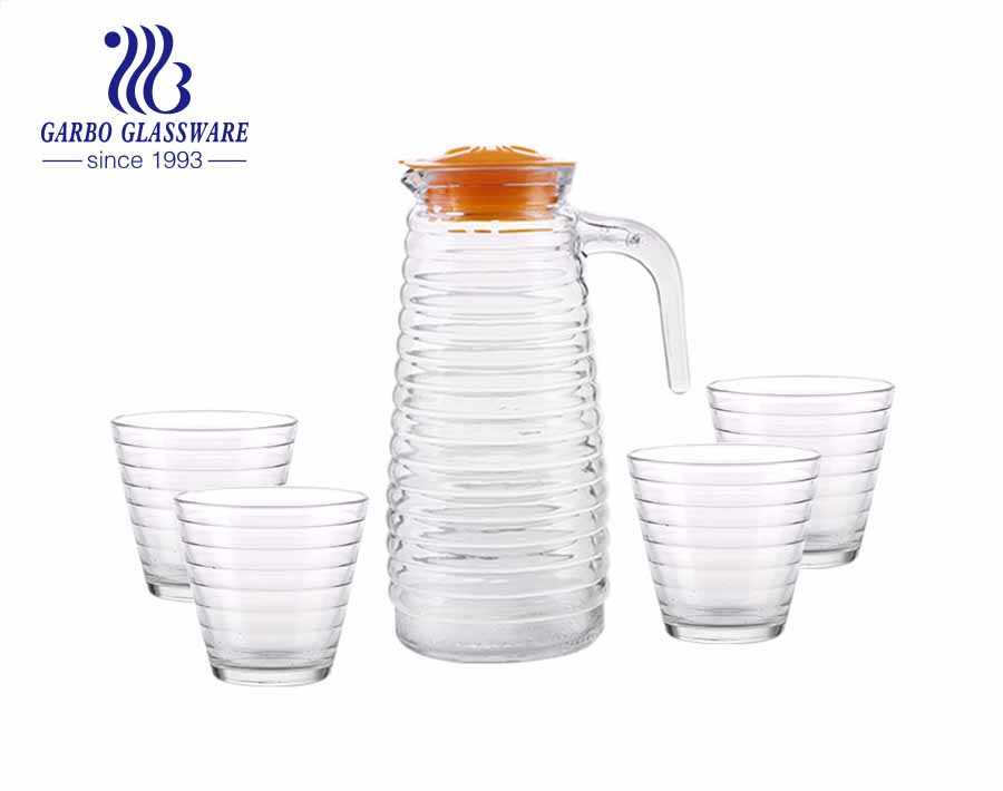 5pcs high-quality glass water drinking jug set with engraved swirl marks and yellow lid for daily home use