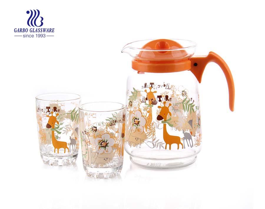 5 قطع من إبريق شرب الماء الزجاجي عالي الجودة مع علامات دوامة محفورة وغطاء أصفر للاستخدام المنزلي اليومي