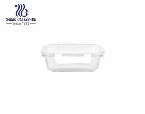 Recipientes de armazenamento de vidro quadrado à prova de vazamento de 370 ml com tampas