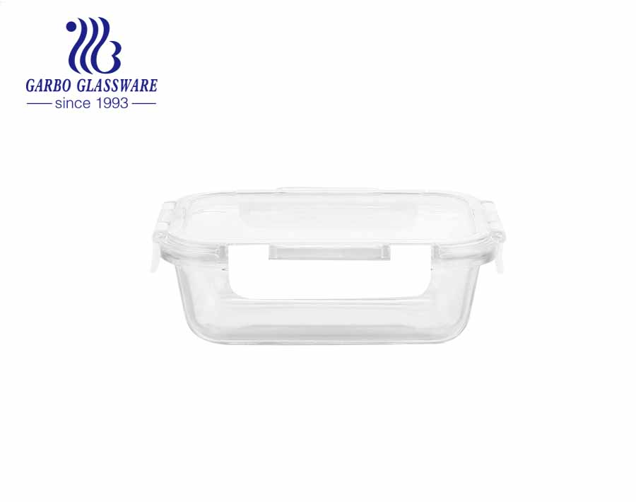 Airtight Leak Proof 370 ml Square Glass Storage Containers with Lids