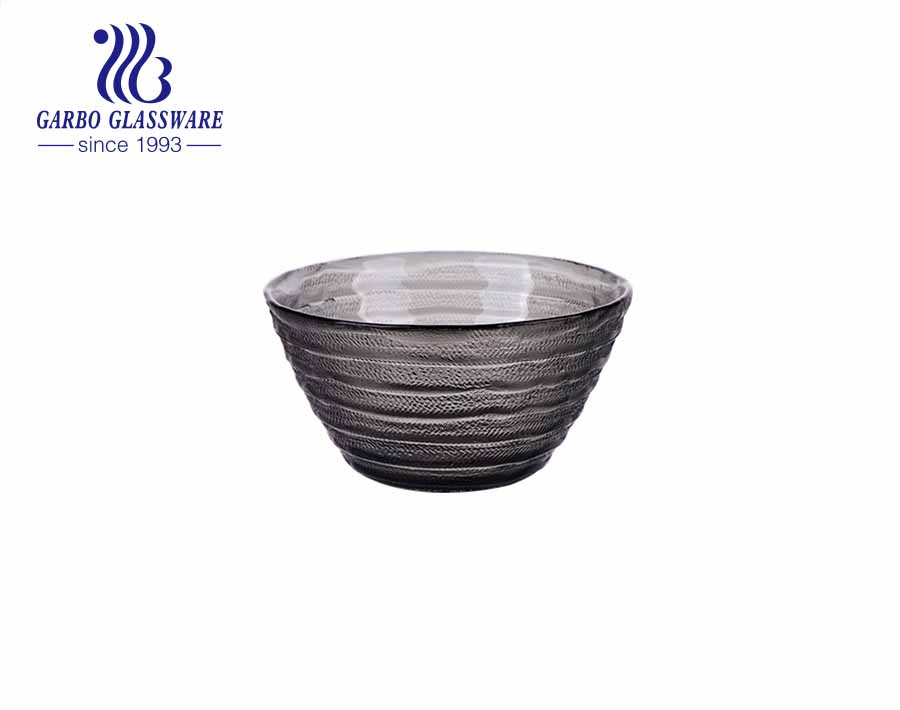 Handblown black solid color glass dessert cake cup bowl with vintage engraved strip design outside smooth surface inside from China factory