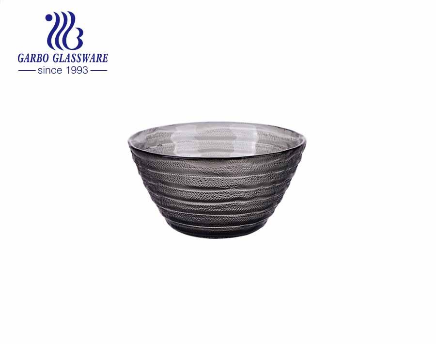 صحن كوب حلوى زجاجي بلون أسود يدويًا مع تصميم شريط منقوش عتيق خارج سطح أملس من الداخل من مصنع الصين